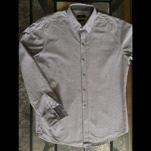 Hugo Boss Slim Fit Shirt Large Grey Black Cotton